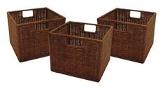 Storage Baskets Shelves Boxes Wicker Woven Rattan Small Square Brown Set of 3 #WinsomeWood