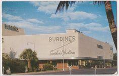 """Miami Beach FL Postcard BURDINE'S Store """"Sunshine Fashions"""" c1960s Unused"""
