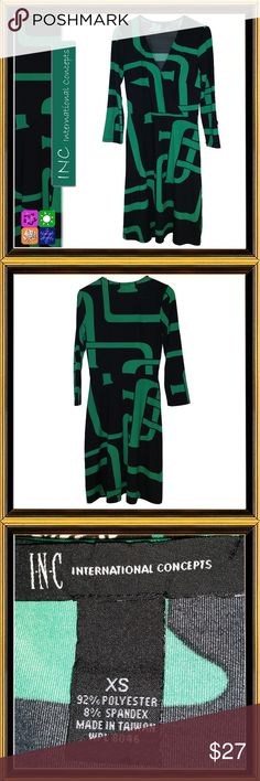Black & Green Geo Print Career Dress CONDITION - LIKE NEW  Striking geo print with crossover bodice.   MEASUREMENTS - Measurements reflect exact measurements of garment, be sure to allow room for ease.  Shoulder - 15 Chest - 34 Waist - 26 Hips - 40 Swale - 50 Garment Length - 40 Sleeve Length -14  All clothing from Kylie's Treasures is in excellent or like-new condition. They have been carefully curated with an eye to detail, quality and style.  All items are laundered and steamed (if…