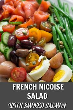 This Healthy Nicoise Salad Recipe features delicious smoked salmon, tangy olives, perfectly cooked vegetables and incredibly yummy dressing. This is one of the best seafood recipes. Easy Salad Recipes, Easy Salads, Fish Recipes, Lunch Recipes, Seafood Recipes, Summer Recipes, Healthy Recipes, Salmon Nicoise Salad, Smoked Salmon Salad