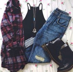 blouse black top top necklace jewels jeans boyfriend jeans DrMartens grunge tumblr outfit on point on point clothing