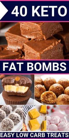 If you're on the ketogenic diet and you need an easy low carb treat or simple snack, then you'll adore these keto fat bomb recipes! Energizing bulletproof coffee, peanut butter, chocolate, and cream cheese chocolate cheesecake keto recipes that you w Low Carb Desserts, Low Carb Recipes, Dessert Recipes, Fish Recipes, Juice Recipes, Dinner Recipes, Easy Keto Dessert, Smoothie Recipes, Appetizer Recipes