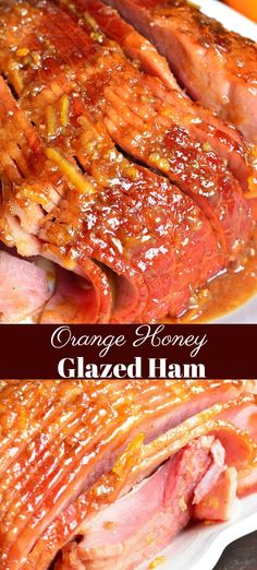 Baked Ham with Orange Honey Ham Glaze. Juicy, tender ham baked in the oven and glazed with an amazing orange glaze. Honey Baked Ham Glaze, Baked Ham Oven, Honey Roast Ham, Honey Baked Ham Recipe, Honey Glazed Ham, Orange Glazed Ham, Bake Ham In Oven, Oven Cooked Ham, Kochen