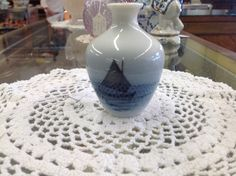 Vintage Royal Copenhagen signed & numbered vase with sail boat on it - pinned by pin4etsy.com