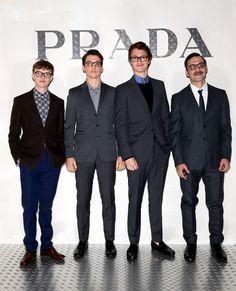 Dane Dehaan, Miles Teller, Ansel Elgort and Filippo Timi ALL enjoyed a Prada event in spexy style! Gotta love their matching black rectangular glasses.