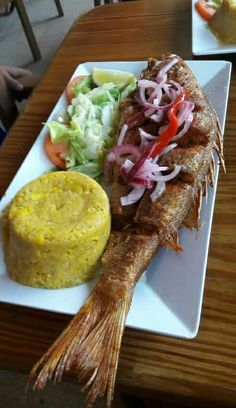 Mofongo con pescado y ensalada Video Rezept Honduran Recipes, Haitian Food Recipes, Fish Recipes, Seafood Recipes, Cooking Recipes, Healthy Recipes, Comida Boricua, Boricua Recipes, Jai Faim