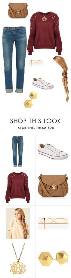 """""""Hebron Basketball game outfit"""" by dancer-caroline ❤ liked on Polyvore featuring Frame, Converse, Accessorize, Hershesons, Jennifer Zeuner and Vince Camuto"""