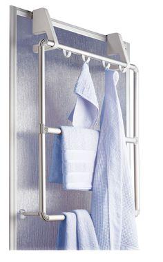 Praktischer und platzsparender Handtuchhalter für Duschkabine und Tür. Gesehen für € 29,99 bei kloundco.de.