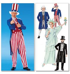 """M6143 - mccalls 6143; boys/girls up to 12-14 or adult small; yardage for abe lincoln coat & pants (combined since shown in same color) in adult small @ 45"""" W is 5 3/8; pants for uncle sam = 2 5/8; uncle sam coat 2 1/8. Given how tricky Stephen may be to fit for pants, we should probably go for the abe lincoln cut rather than the (uncle sam) tails to hide a multitude of sins. NOTE: this is not lined..."""