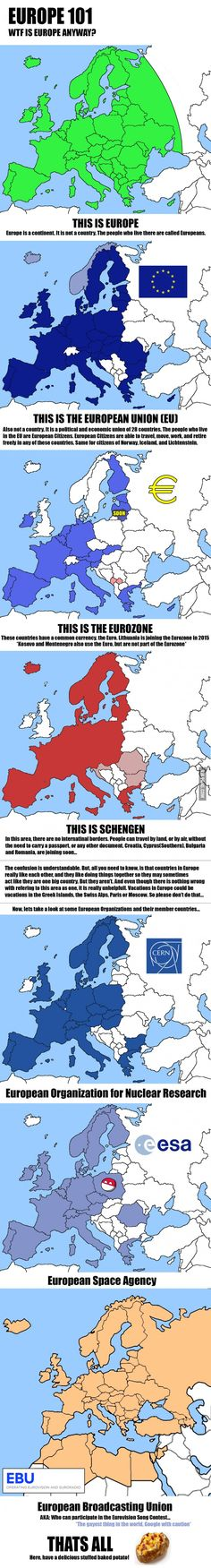 A useful set of maps to understand the European Union and some of its offshots.