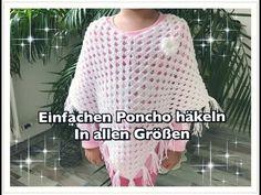 SUPER EINFACHEN Poncho häkeln / Granny Poncho häkeln / Kinderponcho häkeln - YouTube