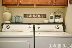 LOVE this shelf over the washer/dryer- See what I could do with 3 more inches under the cabinets?