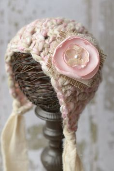Pink and Cream Newborn Bonnet Photo Prop by LittleBittieBoutique, $30.00