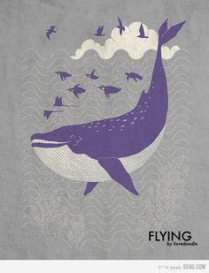 flying whale with penguins