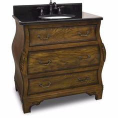"Jeffrey Alexander 34"" Walnut Bombe Single Vanity Set with Optional Mirror - VAN009-T - Bath Vanity Plus"