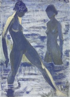 """Otto Mueller (Germany 1874-1930) Badende (c. 1927) distemper on burlap 120.7 x 88 cm """
