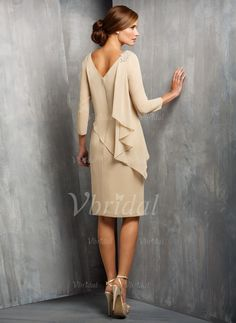 Sheath/Column Scoop Neck Knee-Length Ruffle Beading Chiffon Zipper Up Sleeves 3/4 Sleeves No Champagne Spring Summer Fall Mother of the Bride Dress
