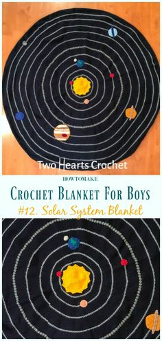 Solar System Blanket Free Crochet Pattern- #Crochet; #Blanket; Free Patterns For Boys