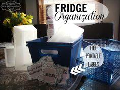 Dollar Store Fridge Makeover   FREE Printable Labels