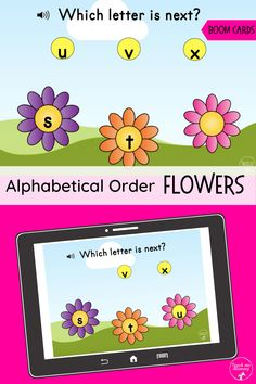 Fun Alphabetical Order Flowers activity on Boom cards(digital learning platform). This is a free deck! Letter S Activities, Learning Activities, Teaching Strategies, Teaching Vowels, Teaching The Alphabet, Learning Cards, Alphabetical Order, Order Flowers, France