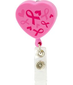 Pink Ribbons & Hearts Retractable Lanyard at The Breast Cancer Site