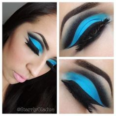 Bright neon blue with black cut crease eye makeup! beauty eye shadow make up sexy glam pretty cut crease Makeup Trends, Makeup Inspo, Makeup Inspiration, Beauty Makeup, Makeup Ideas, Beauty Tips, Makeup Tutorials, Fitness Inspiration, Blue Cut Crease