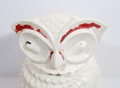 Vintage Owl Cookie Jar  Off White Red Trim  by UrbanRenewalDesigns, $38.00