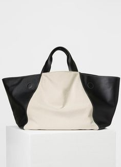 Canvas Tote in Black and White Smooth Calfskin and Textile