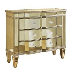 Perfect for displaying a lush floral arrangement and an array of framed family photos, this glamorous accent chest showcases a shimmering mirrored finish and...