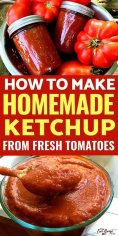 Learn how to make your own homemade ketchup using fresh tomatoes from your garden-includes canning directions to preserve your ketchup up to a year! Homemade Ketchup Recipes, Homemade Tomato Sauce, Sauce Recipes, Canning Ketchup Recipe Fresh Tomatoes, Healthy Ketchup Recipe, Tomato Ketchup Recipe, How To Make Tomato Sauce, Homemade Food, Pork Recipes