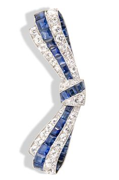 Sapphires and Diamonds Bow Pin