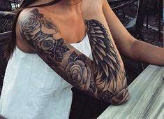 für # Frauen Blume Ärmel und Federn # Armel – Pin zu Pin – DIY besten Tattoo-Bilder diy tattoo - diy best tattoo ideas Forearm Sleeve Tattoos, Full Sleeve Tattoos, Body Art Tattoos, Wing Tattoo Arm, Arm Sleeve Tattoos For Women, Woman Tattoos, Tattoo Feather, Wing Tattoos, Tattoos Skull