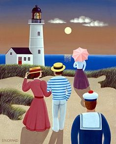 Gina gallery - Promenading by the Light House. GINA Gallery of International Naïve Art deals in the procurement and sale of naïve art from all over the world Seaside Art, Beach Art, Karla Gerard, Nautical Painting, Lighthouse Art, Watercolor Mixing, Naive Art, Puzzle Art, Painting & Drawing