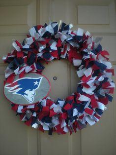 New England Patriots wreath by MelsDoorDecor on Etsy, $25.00
