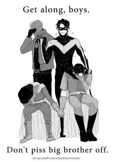Red Hood, Nightwing, Robin, and Red Robin. Big brother Grayson is the best big brother. Nightwing, Batgirl, Tim Drake, Batman Y Superman, Batman Robin, Dick Grayson Batman, Batman Arkham, Batman Art, Jason Todd