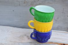 Punch Glasses Punch Cups Blue Glass Green by SweetPetuniaVintage