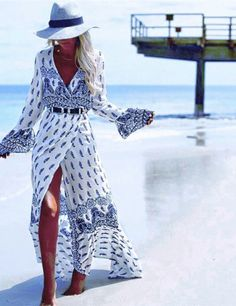 MUST HAVE BOHO WRAP DRESS. This gorgeous maxi dress is a great holiday essential. Look sexy, stunning and stay cool in the sun.
