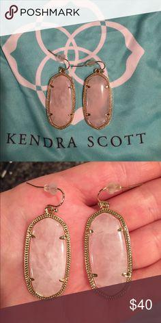 """KENDRA SCOTT """"Elle"""" Earrings 💗 Classic Kendra Scott """"Elle"""" earrings in rose quartz. NEVER WORN! New without tags. Backs and dust bag included. Kendra Scott Jewelry Earrings"""