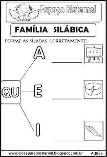 Familia Silabica Alfabetizacao Letra Q Com Imagens Atividades