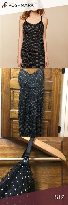 Bump In The Night Maternity/Nursing Nightgown,Dots Bump in the night black polka dot nursing/maternity night/sleep gown, has clip down straps for fast access and shelf bra so no need to wear another bra in middle of night. The shelf bra is molded and slightly padded, machine washable and feels very comfy for during pregnancy and postpartum. Please note condition, wash fading and piling as well as small wear on lace trim, all noted in pictures, still plenty of use left though and no issues in…