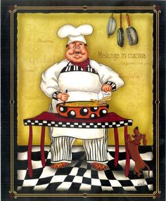 quenalbertini: Stirring Chef by Dena Marie art print Fat Chef Kitchen Decor, Kitchen Themes, Chef Pictures, Kitchen Pictures, Decoupage Vintage, Decoupage Paper, Foto Transfer, Le Chef, Kitchen Wall Art