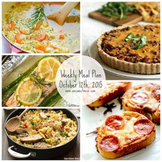 Week of October 12th, 2015 Weekly Meal Plan + Printable Grocery List. Five easy weeknight meals that feed a family of four.