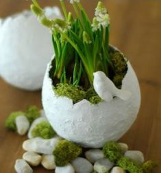 DIY: hübsche Deko-Ostereier aus Gipsbinden selbermachen You can easily make these large decorative eggs from plaster bandages and arrange them with moss and spring flowers as a great Easter dec Flower Vase Design, Flower Vases, Spring Flower Arrangements, Spring Flowers, Green Spray Paint, Paper Flower Wreaths, Spring Crafts For Kids, Decoration Originale, Diy Kitchen Decor