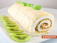 How to Make a Meringue Roll with Kiwi and Apples | Baked Goods | Genius cook - Healthy Nutrition, Tasty Food, Simple Recipes