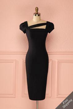 Robe noire ajustée mi-longue bande asymétrique manches courtes - Short sleeved asymmetric detail fitted midi black dress