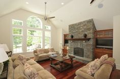 vaulted ceiling fireplace stone design | fireplace vaulted ceiling
