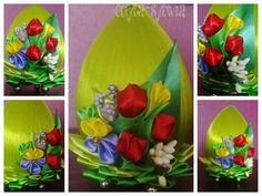 #egg #ostern #wielkanoc #jaja #ribbon #wstążka #hand_made #rekodzielo #flower #kwiaty #kanzashi #tulipan #tullip #decoration #dekoracja