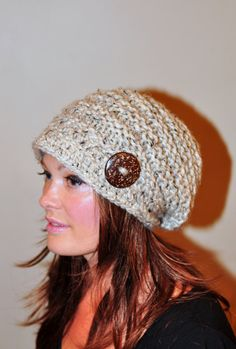 Slouchy Hat Brim Hat Brimmed Beanie Button Knit Crochet by lucymir, $49.99