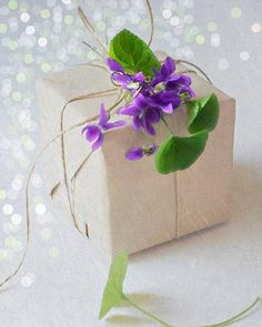 ✂ That's a Wrap ✂ diy ideas for gift packaging and wrapped presents - topped with violets