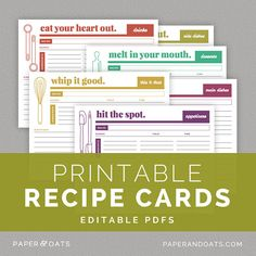 Printable Recipe Cards Editable DIY Recipe by paperandoats on Etsy, $6.00